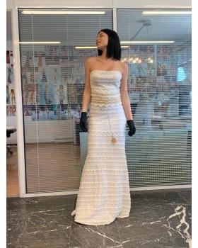 μάξι φόρεμα δαντέλα στράπλες