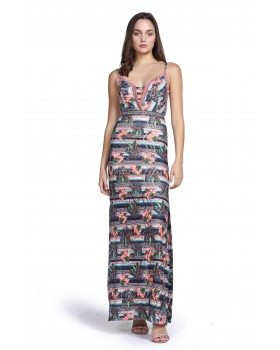 φόρεμα μάξι εμπριμέ,σκίσιμο στα πλαινά,ενσωματωμένο σουτιέν.