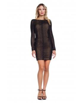 Φόρεμα μίνι δαντέλα πλεκτή ,μακρυά μανίκια, ανοικτή πλάτη