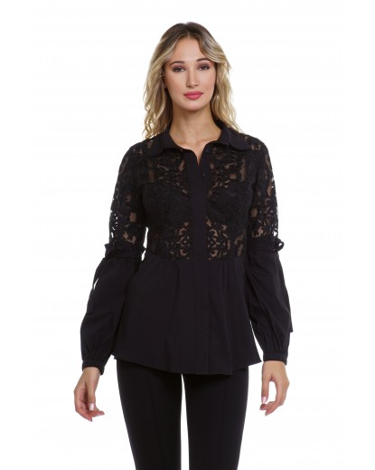 ELASTIC POPLIN AND LACE SHIRT
