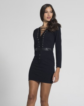 V-NECK MINI DRESS