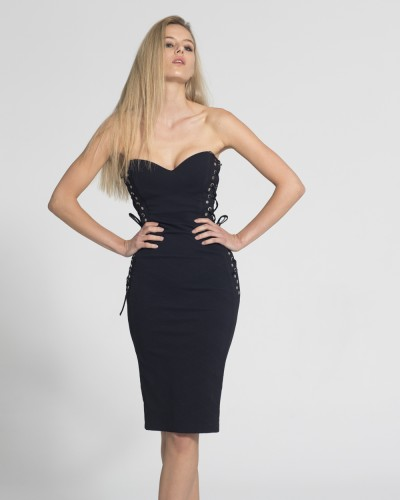 GLITTER ELASTIC STRAPLESS DRESS