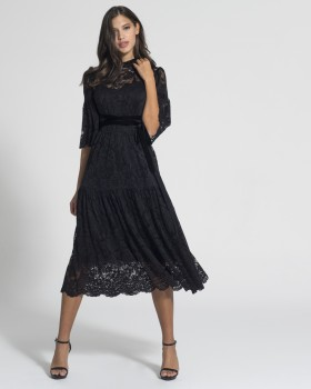 HIGH NECK MIDI LACE DRESS