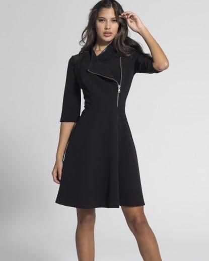 Φόρεμα a-line φερμουάρ στο πλάι, δερματίνη στους ώμους