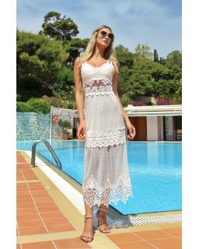 μίντι φόρεμα δαντέλα τρυπητή,διαφάνεια στη μέση, λεπτή διπλή τιράντα.