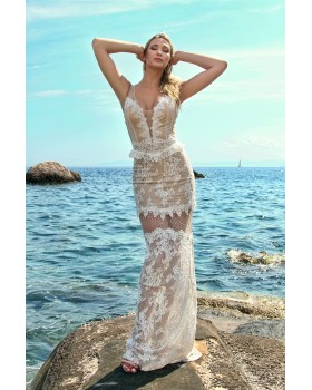 μάξι φόρεμα δαντέλα και τούλι γκλίτερ,με ενσωματωμένο σουτιέν και κορσέ