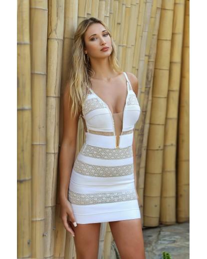 μίνι φόρεμα πλεκτές φάσες και τούλι γκλίτερ,μέταλλο στο στήθος.