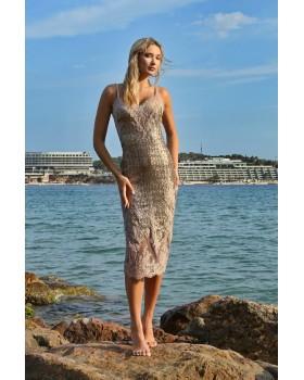 μίντι φόρεμα παγιέτα ελαστική και δαντέλα,με ενσωματωμένο σουτιέν