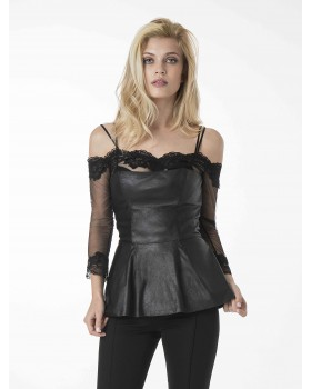 FAUX-LEATHER TOP