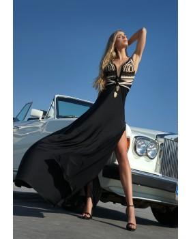μάξι φόρεμα φούστα ζέρσευ,μπούστο πλεκτές φάσες λούρεξ