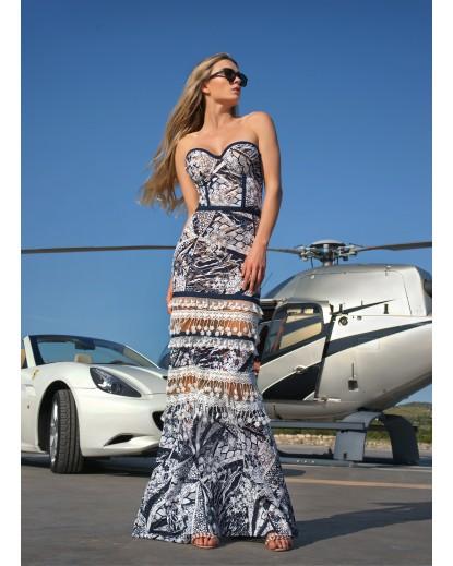 μάξι φόρεμα δίχρωμη δαντέλα