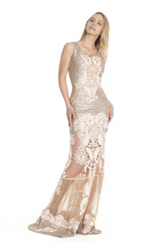 Long dress with rose gold sequins