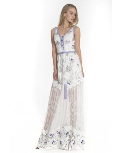 Long silk gypour lace dress with embroidered lila flowers