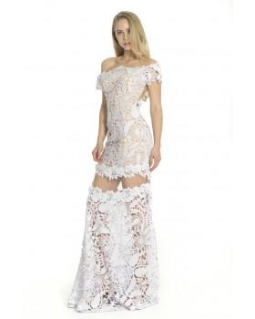 Long gipour lace dress