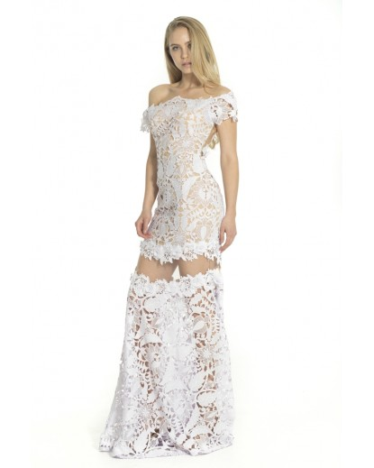 Long gipour lace dress