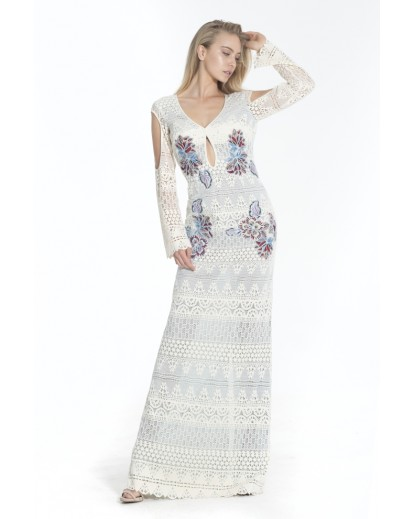 Long cotton lace dress with sleeves