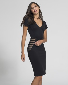 φόρεμα μίντi ,v-neck κοντά μανίκια,στα πλαινά διαφάνεια με τούλι.