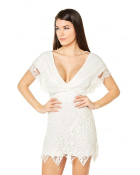 Midi crepe dress with patch lace skirt and short sleeves